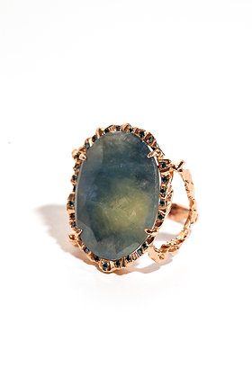 Blue/Grey Sapphire in Rose Gold Ring with Blue Diamonds