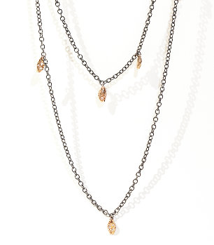 Long Necklace w. Rose Gold Leaves and Diamonds