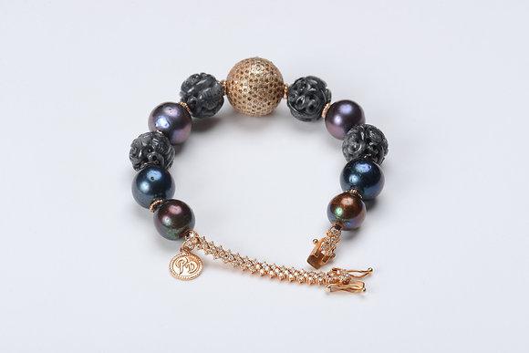 Black Freshwater Pearls & Grey Jade Bead Bracelet