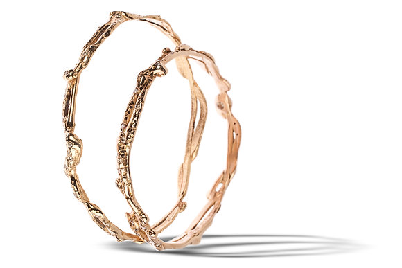 Thin Yellow Gold and Rose Gold Bangle Bracelet with Diamonds