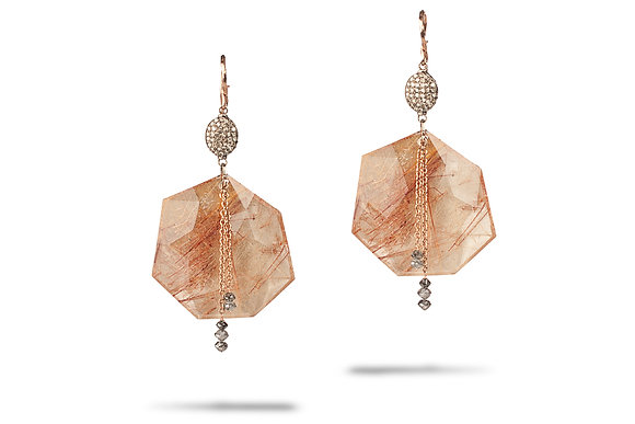 Rutilated Quartz Earrings with Diamond Beads