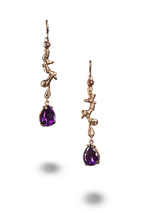 Amethyst Diamond Drip Earrings