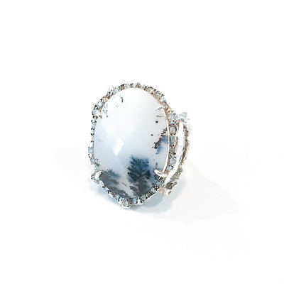 Faceted Snowball Jasper Ring with Diamonds