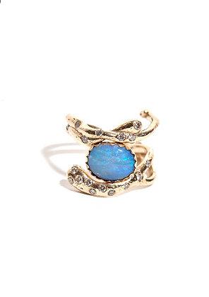 Wrap Around Opal Ring with Diamonds