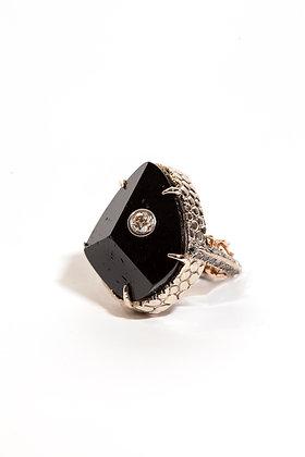 Black Tourmaline w. Blue & Chocolate Diamond Ring