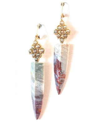 Blood Agate Spears with Aquamarine Beads