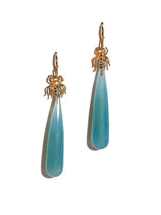 """""""Good Luck"""" Blue Diamond Spider Earrings"""