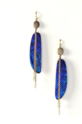 Electric Blue Australian Opals with Pave' Diamond Beads