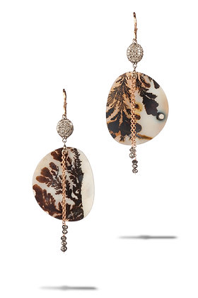 Lacy Dendrite Agate with Pavé Diamonds