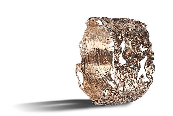 Bold Organic Bangle with Rose Gold and Diamonds