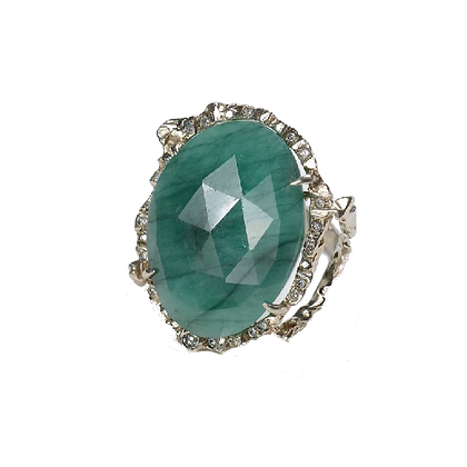 Faceted Emerald Ring with Diamonds
