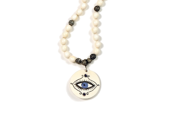 Vintage Diamond Bead Evil Eye Necklace