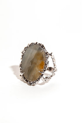 Iridescent Grey/Gold Sapphire and Diamond Ring