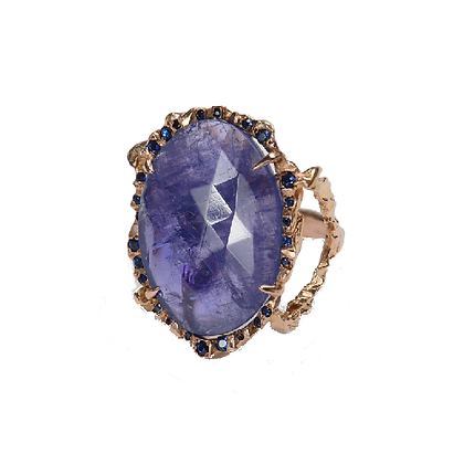 Blue/Violet Tanzanite Ring with Blue Sapphires