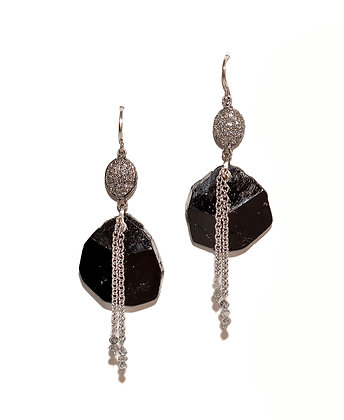 Black Tourmaline Earrings with Pave' Diamond Beads