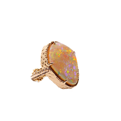 Rare Color Australian Boulder Opal Ring