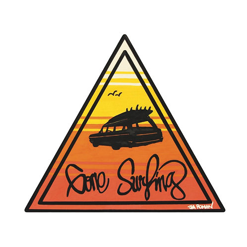 Gone Surfing 5 x 4.44 in (Bumper Sticker)