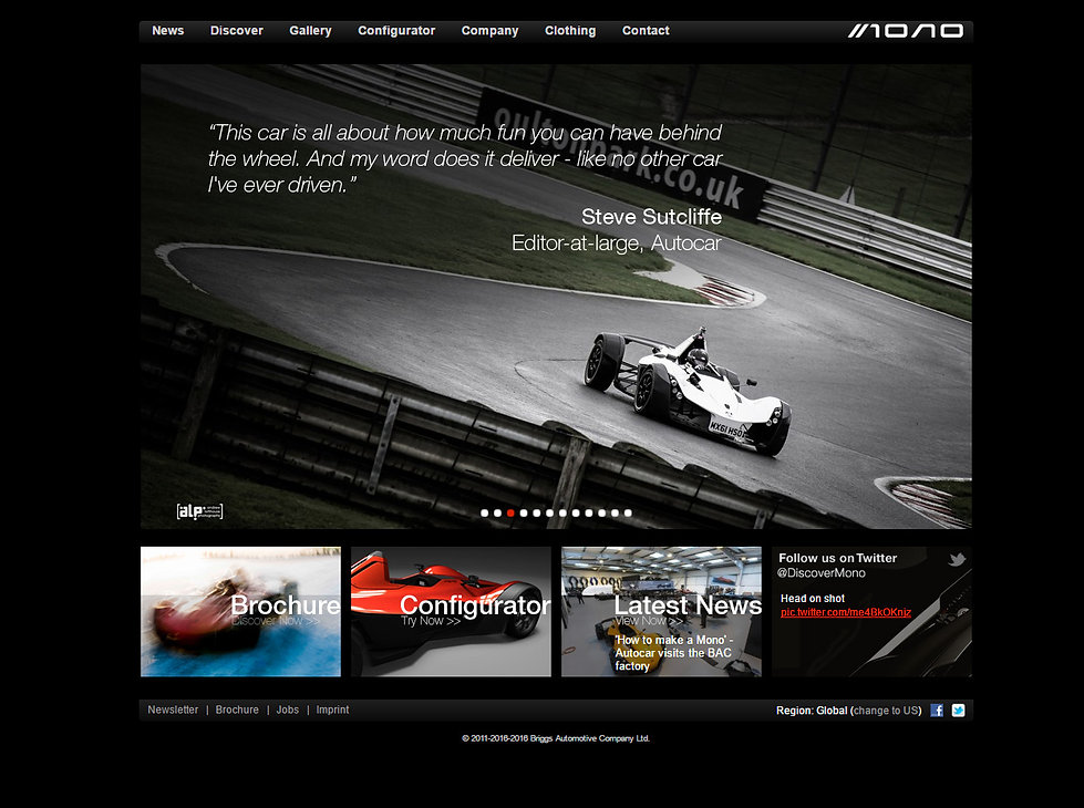 BAC Mono using SCS Delta 880 ECUs for engine and gearbox control