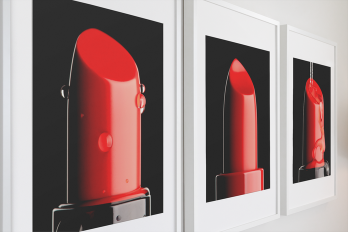 Droplet, Lipstick and Stream framed posters