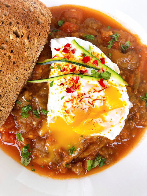 Mediterranean Eggplant with poached egg