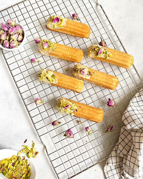 Madeleines with Pistachios & Roses