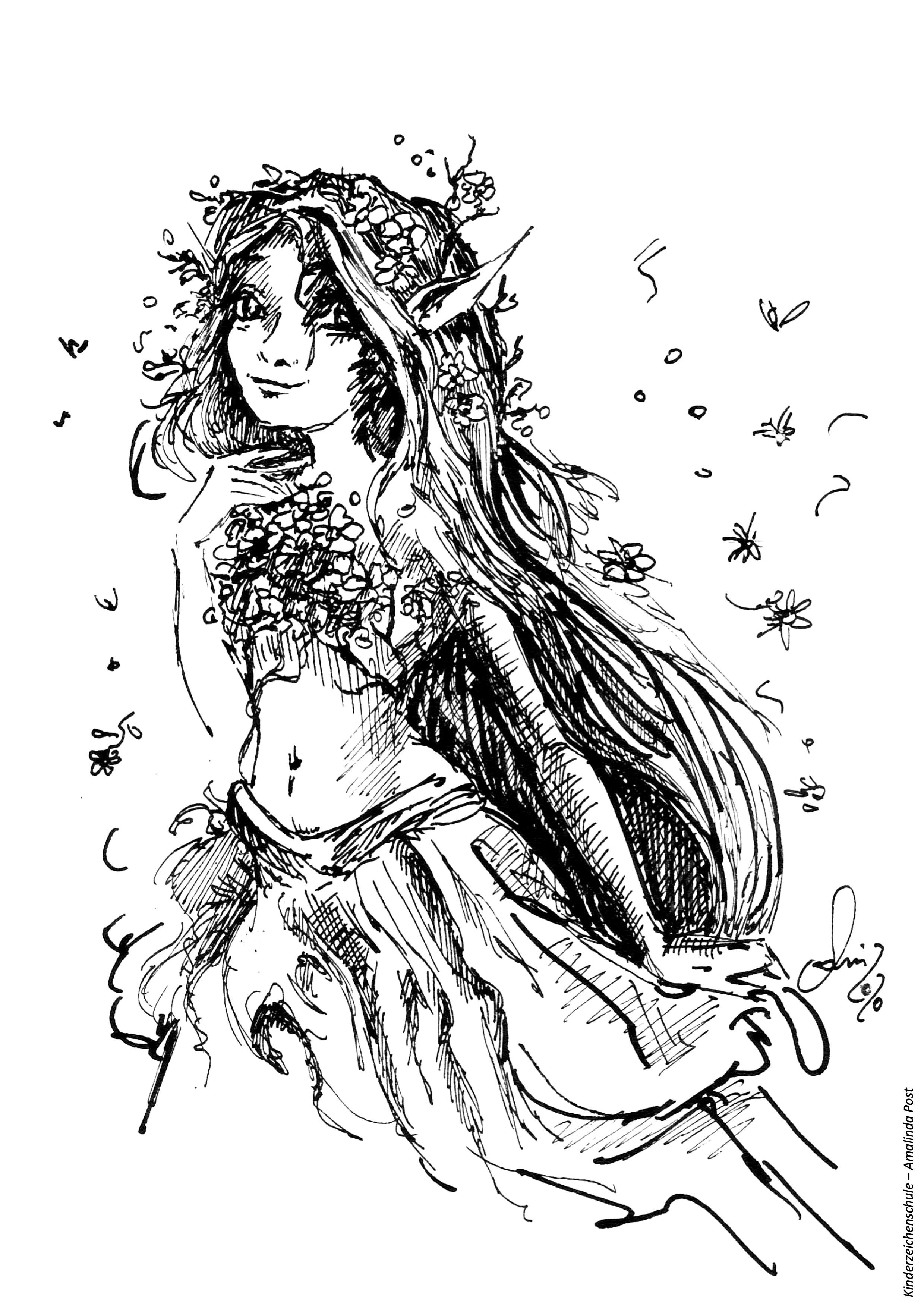 Ausmalbild Elf mit Blumen