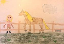 Zeichnung von Emma ihrem Traumpferd auf Koppel