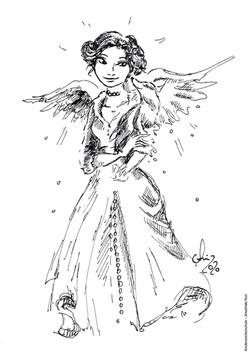 Ausmalbild Prinzessin mit Flügeln