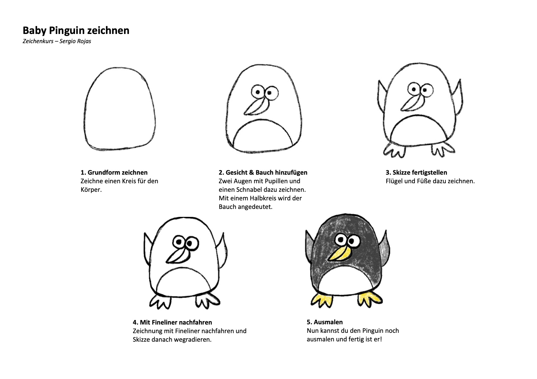 Baby Pinguin Zeichenanleitung