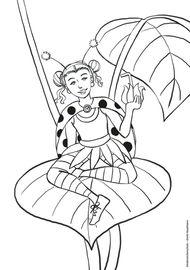 Marienkäfermädchen Ausmalbild