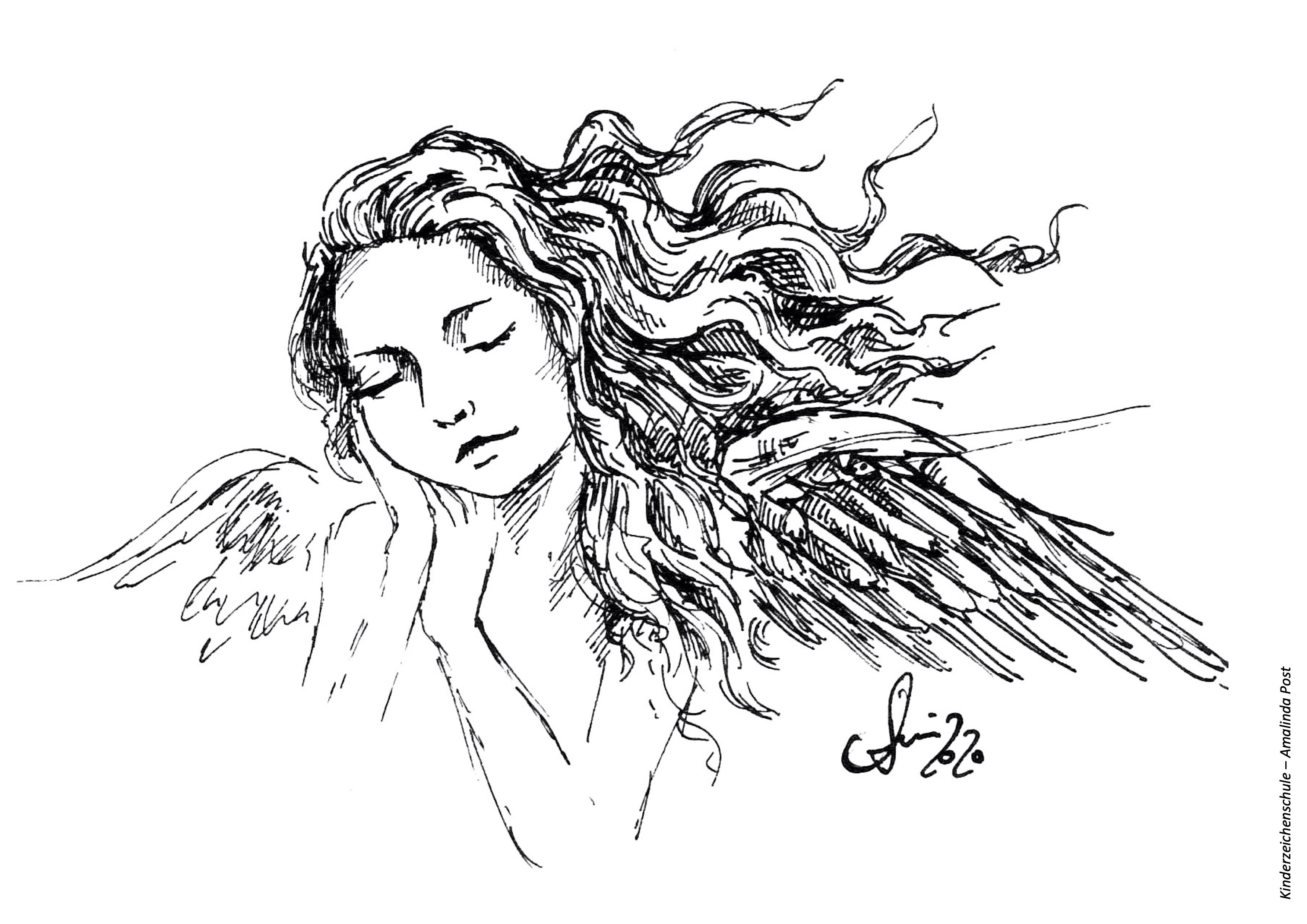 Ausmalbild schlafender Engel