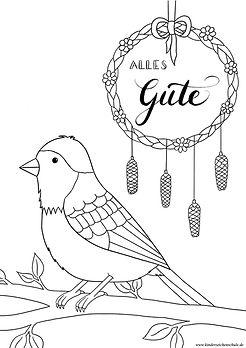 Alles Gute Grußkarte zum Ausmalen mit Vogel