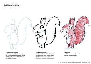 Zeichenanleitung Eichhörnchen Pino