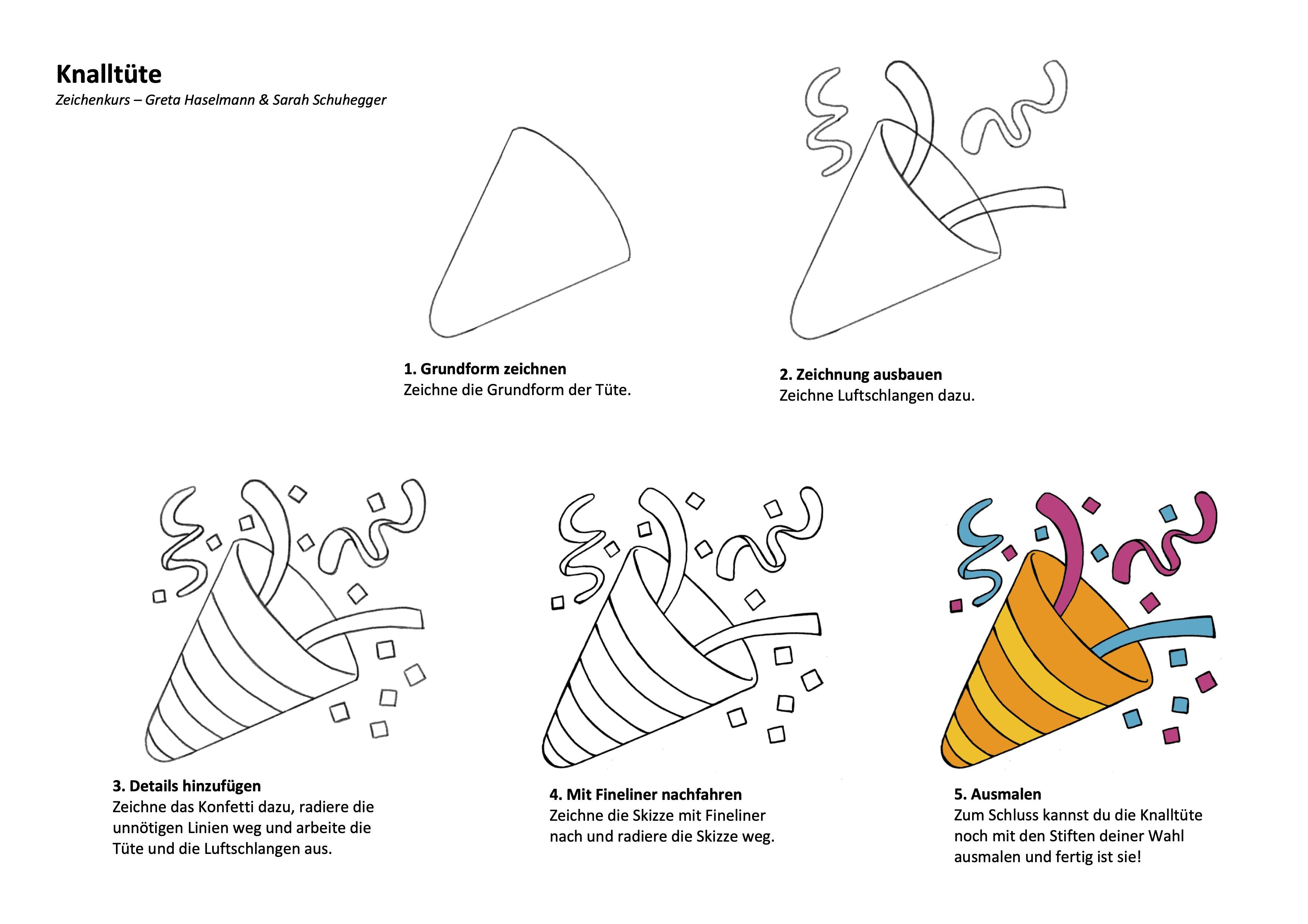 Zeichenanleitung Knalltüte und Party Popper Emoji