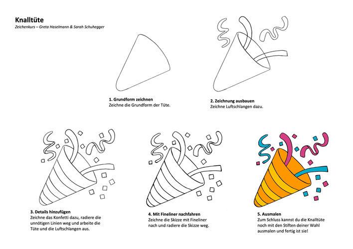 Zeichenanleitung Knalltüt und Party Popper Emoji