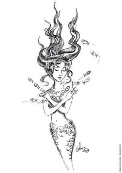 Ausmalbild Meerjungfrau mit Fischen