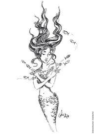 Ausmalbild Meerjungfrau