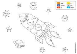 Rakete in Weltraum Malen nach Zahlen gemischte Aufgaben bis 100