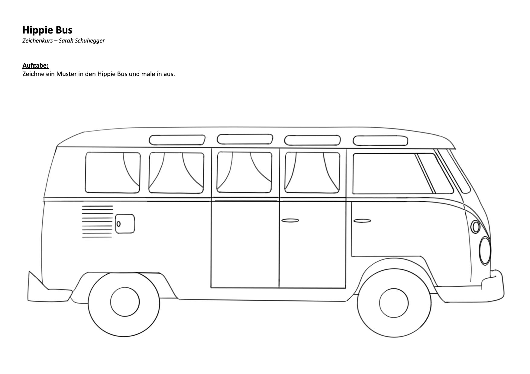 Hippie Bus zum ausmalen