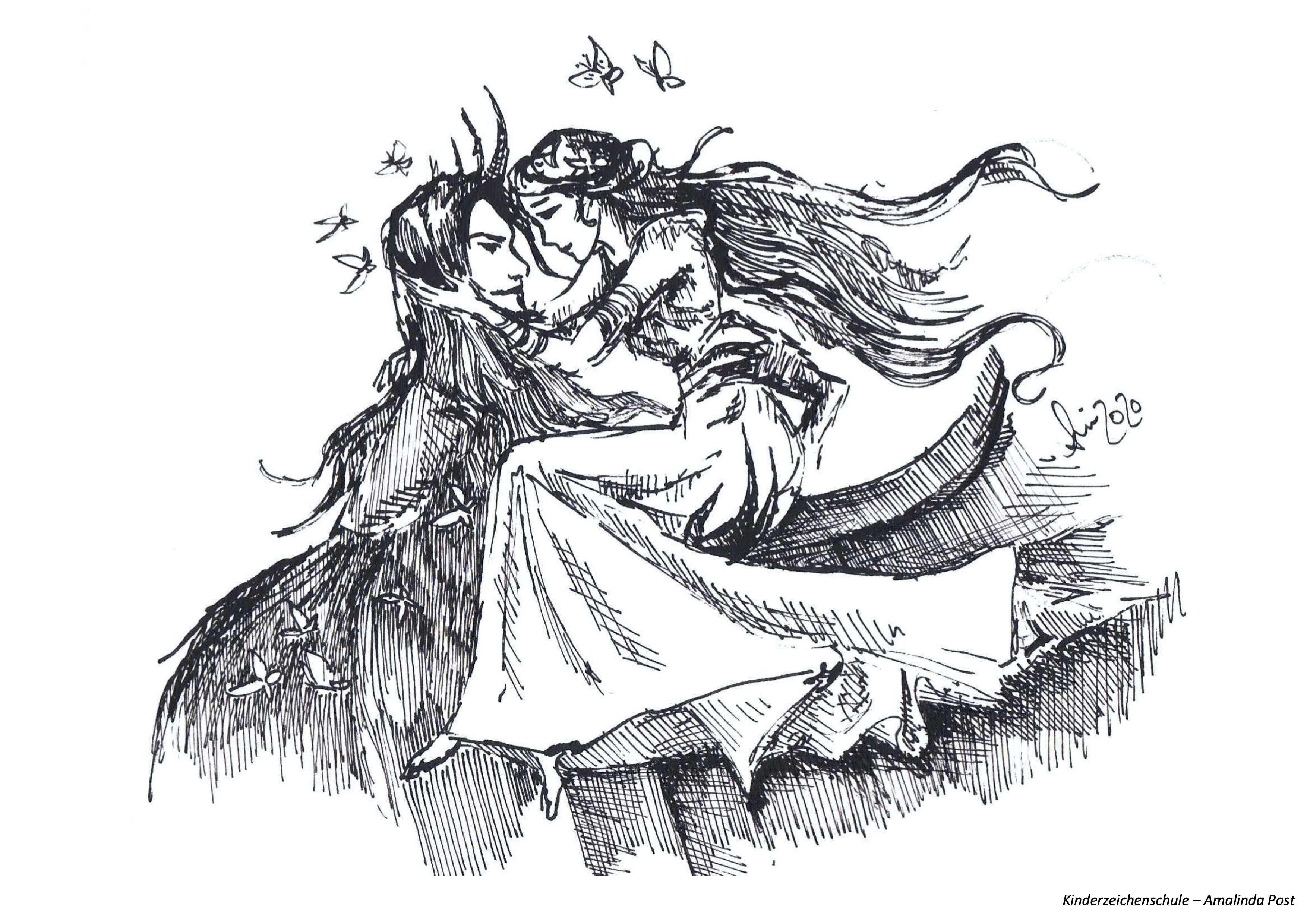 Ausmalbild Liebespaar