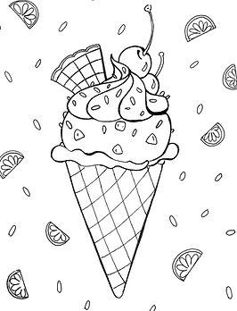Ausmalbild Eis mit Kirsche und Sahne