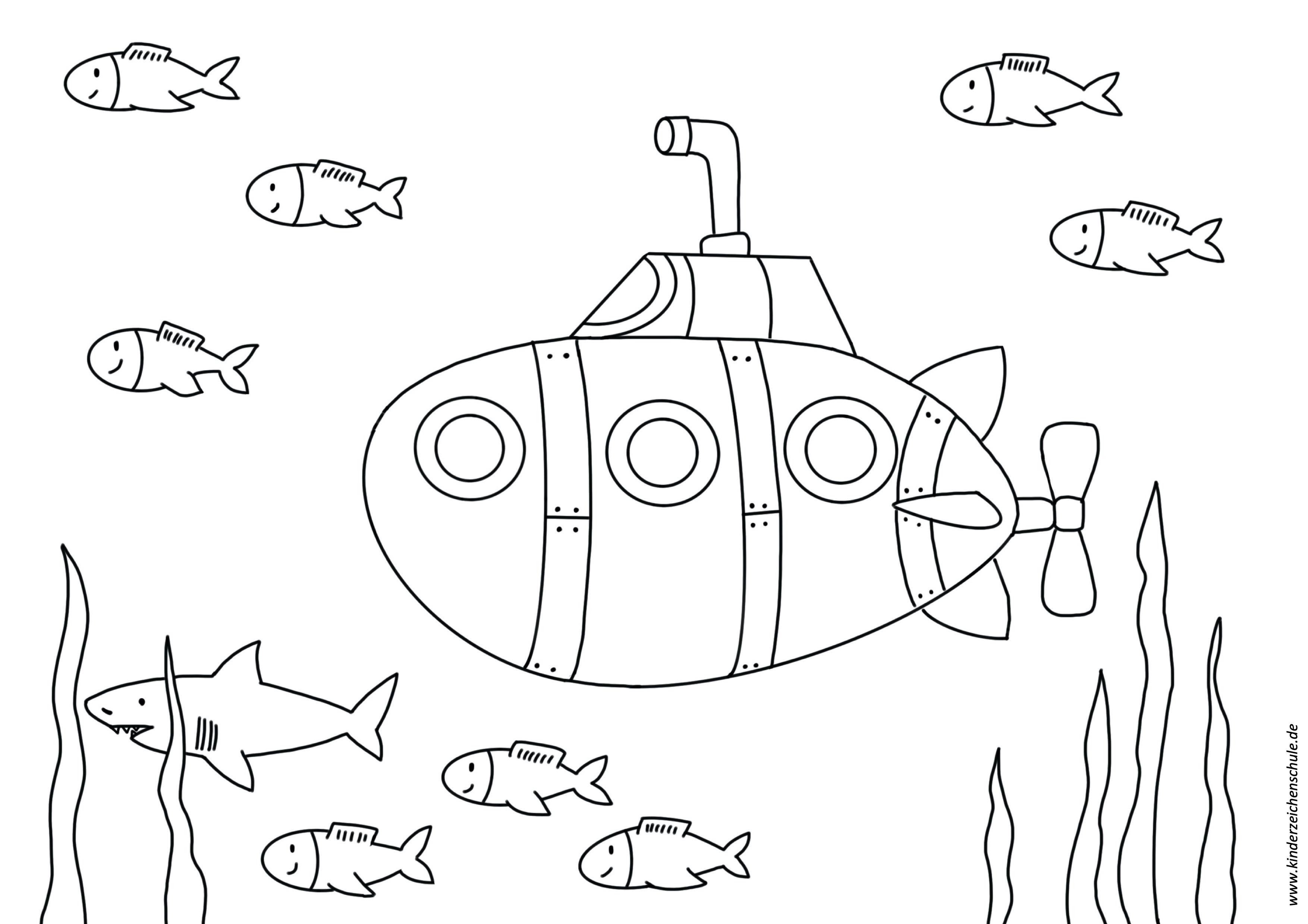 Ausmalbild U-Boot mit Hai und Fischen Unterwasser