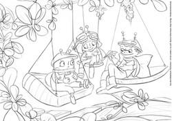Perlinchen macht Pause mit ihren Freunden Ausmalbild