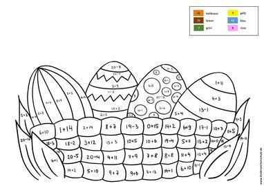 Malen nach Zahlen bis 20 Addition und Subtraktion