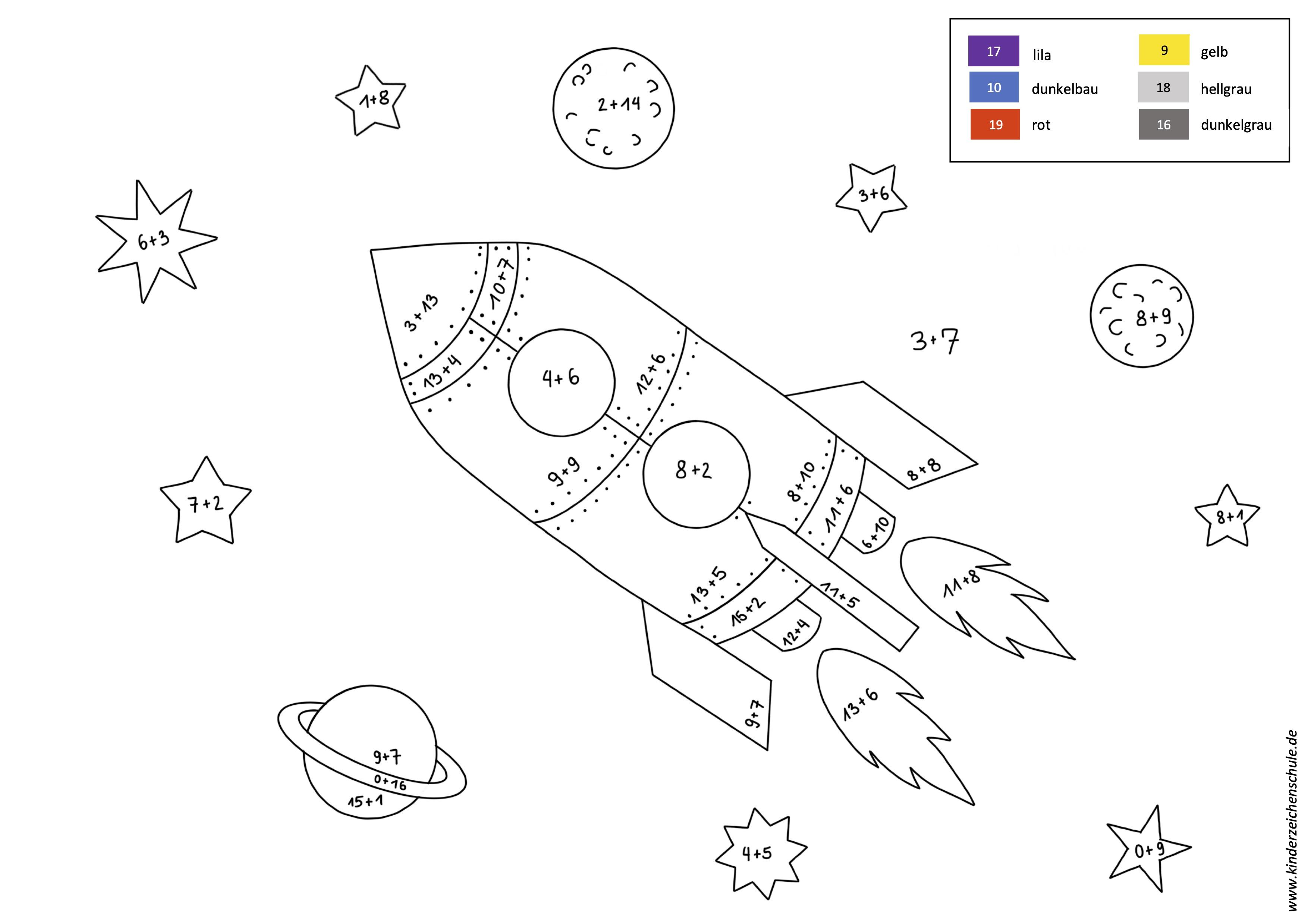 Rakete in Weltraum Malen nach Zahlen Aufgabe Addition bis 20