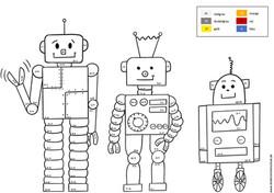 Malen nach Zahlen Roboter Addition und Subtraktion bis 20