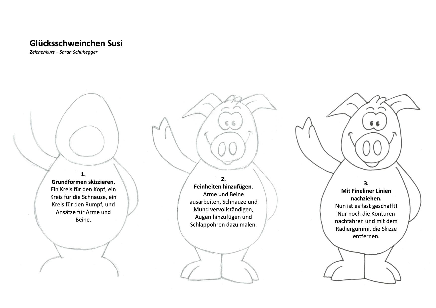 Glücksschweinchen Susi Zeichenanleitung