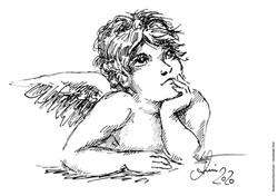 Ausmalbild nachdenklicher Engel