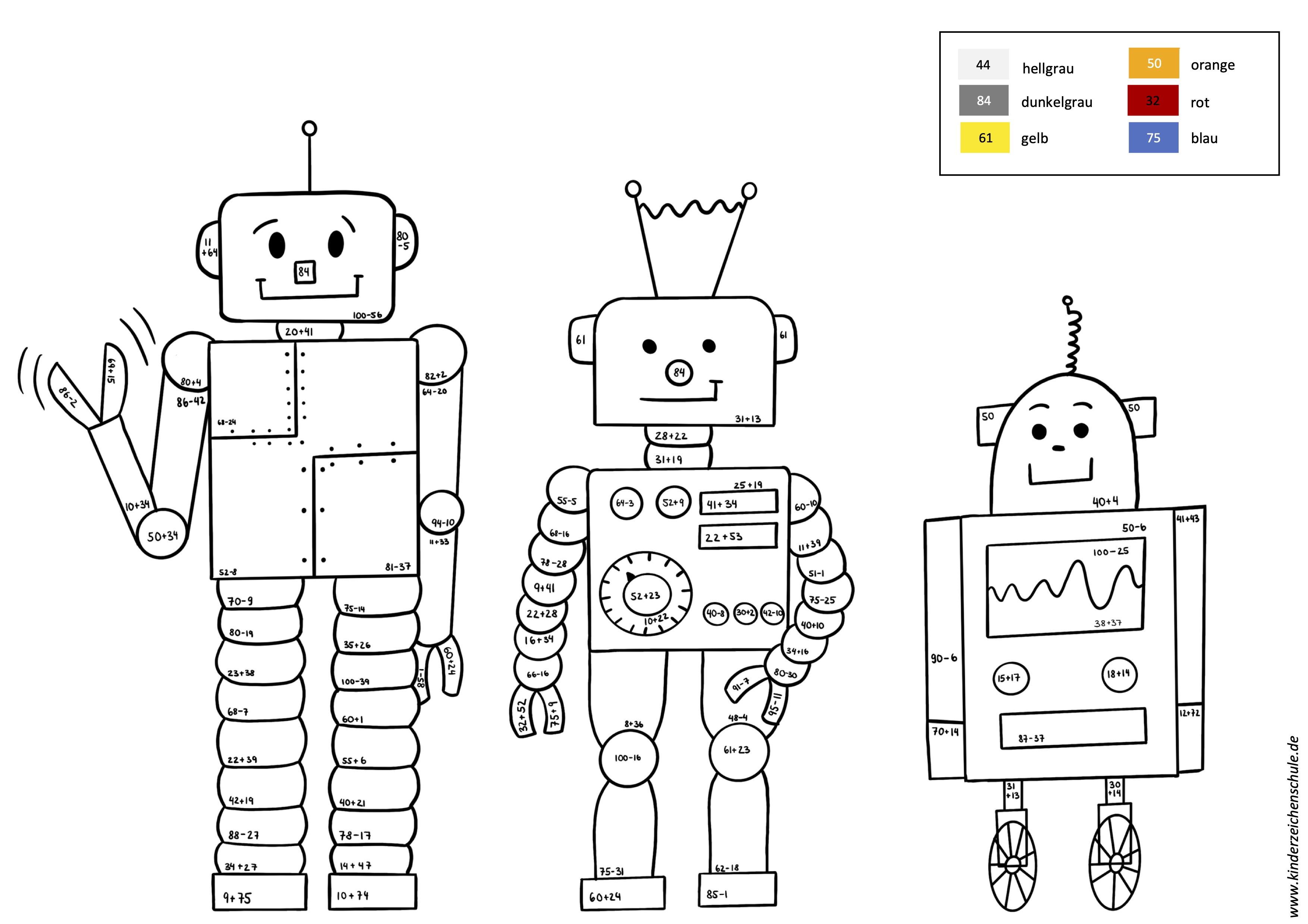 Malen nach Zahlen Roboter Addition und Subtraktion bis 100