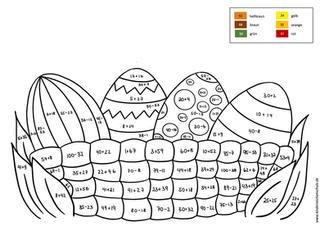 Malen nach Zahlen Osternest mit Eiern